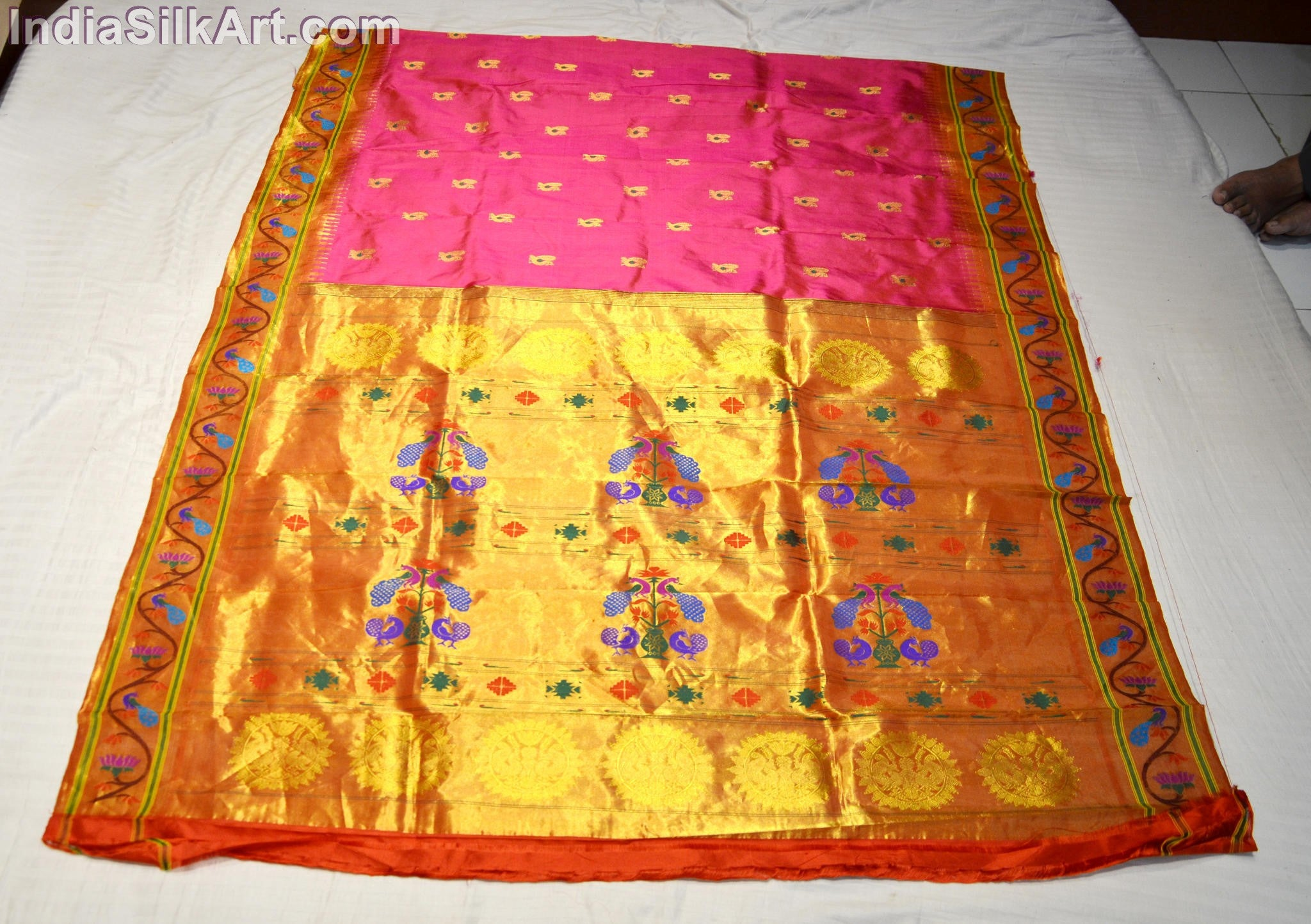 Paithani - Machine Woven Brocade Pallu Sari- Pink - Rani Color