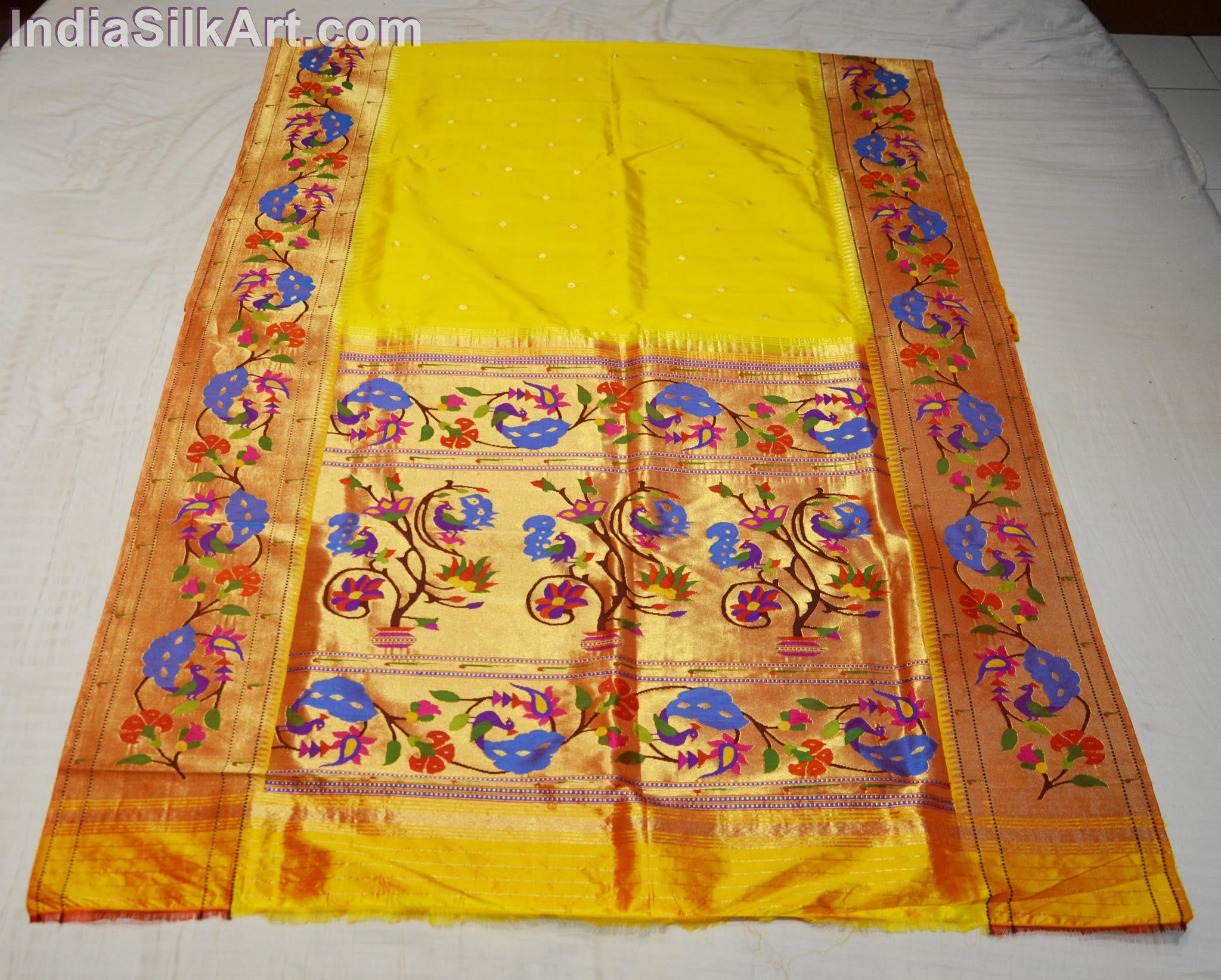 Paithani - Silk Sari - Hand Woven Brocade Pallu Sari - Lemon Yellow