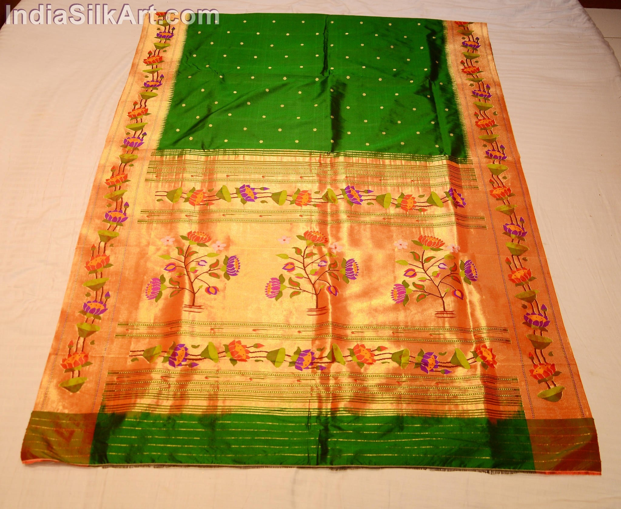 Bottle Green Silk Paithani Sari with Handwoven Lotus Pallu - IndiaSilkArt.Com