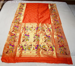 Beautiful Red Colored Handwoven Silk Sari with Lotus Pallu - IndiaSilkArt.Com