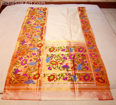 Paithani - Silk Sari - Hand Woven Lotus Pallu - White - Moti Color