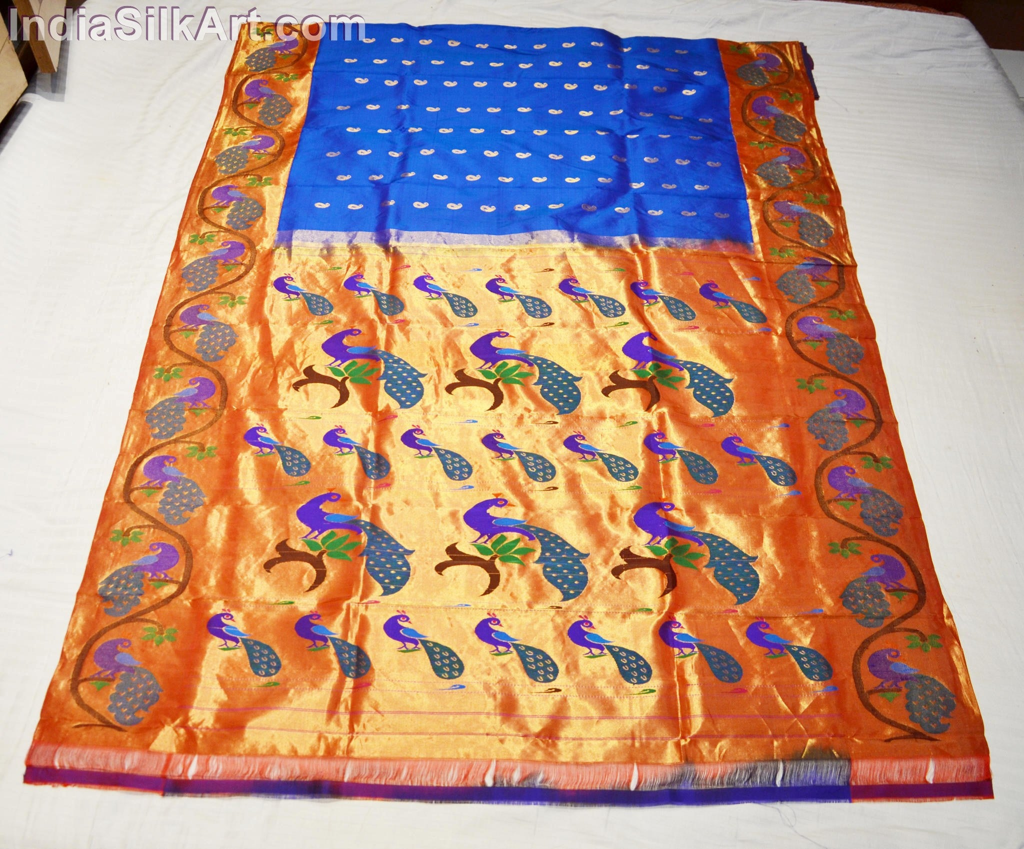 Paithani - Silk Sari - Machine Woven Peacock Pallu - Dark Blue - Rukmini Color
