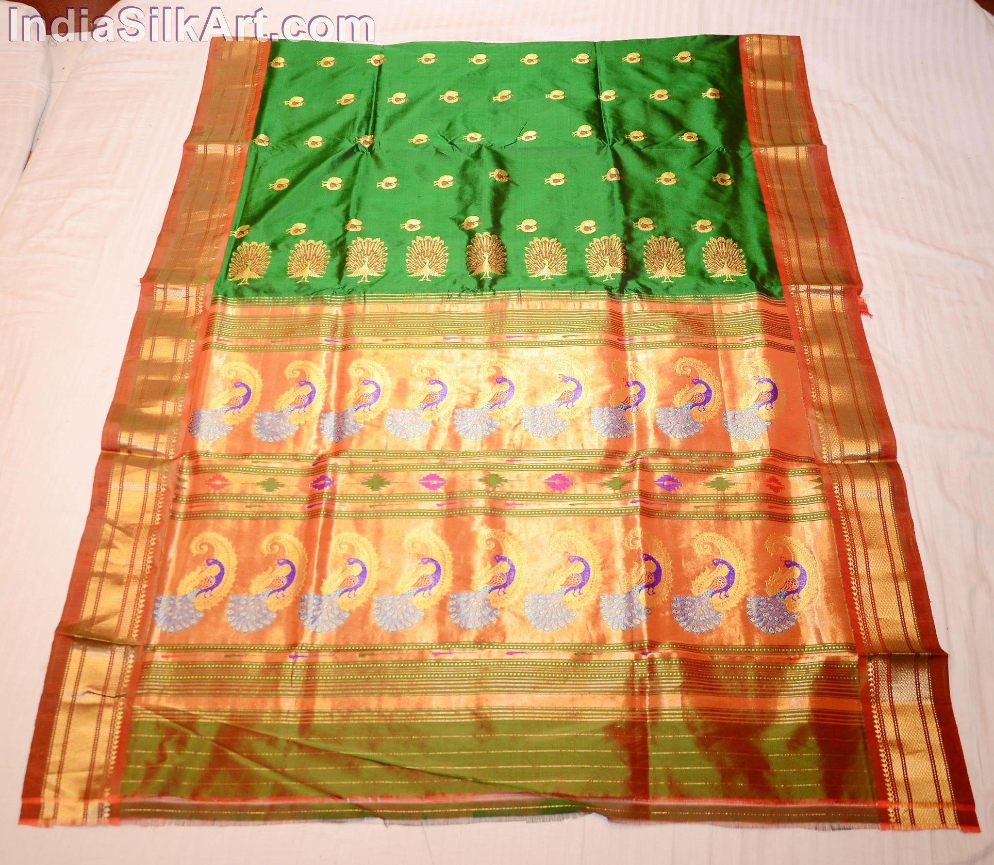 Paithani - Silk Sari - Machine Woven Tissue Pallu - Bottle Green