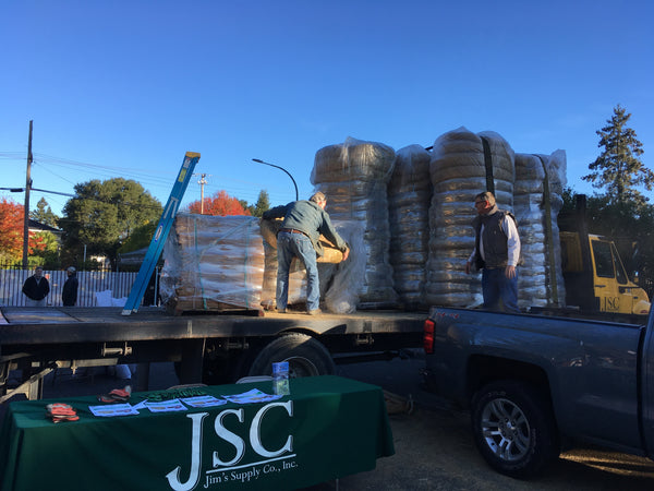 Our team hard at work at an event sponsored by the Napa Valley Grapegrowers.  JSC donated wattles to residents in need after the devastating CA fires.
