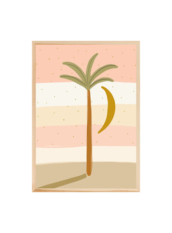Palm and moon - Pink ~ Fine art print