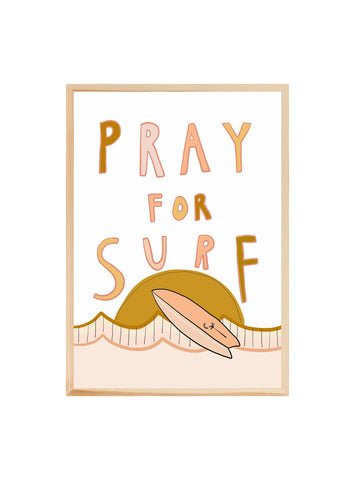 Pray for surf (PINK) ~ ART PRINT