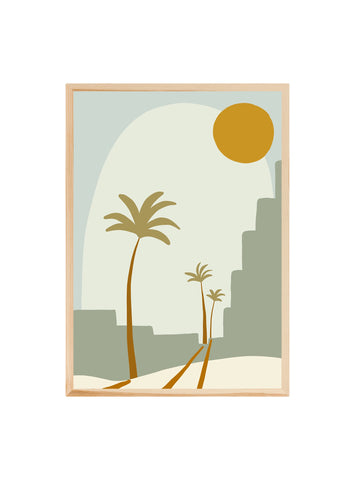 Palm city Blue ~ ART PRINT