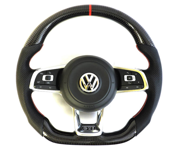 EZT Carbon Fiber-Perforated Steering Wheel (VW MK7)