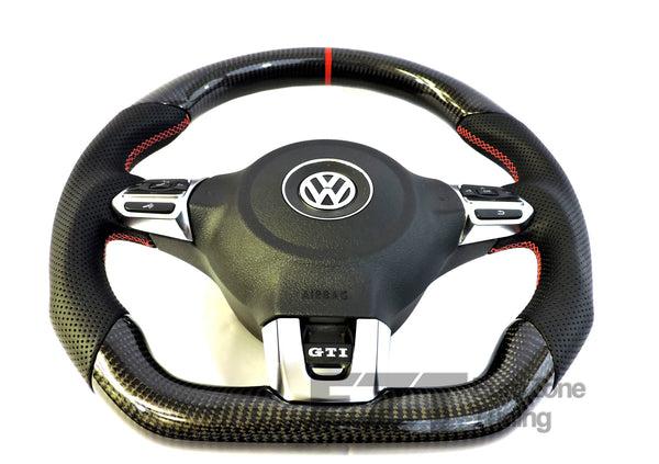 EZT Carbon Fiber-Perforated Steering Wheel (VW MK6)