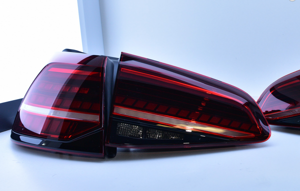 VW MK7.5 Golf/GTI/R Tinted Euro Dynamic Taillights w/ Rear Fog