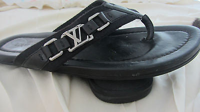 a1fcb69e8b1d Authentic Louis Vuittons Mens Sandals US 10 Leather Black LV Buckle Logo