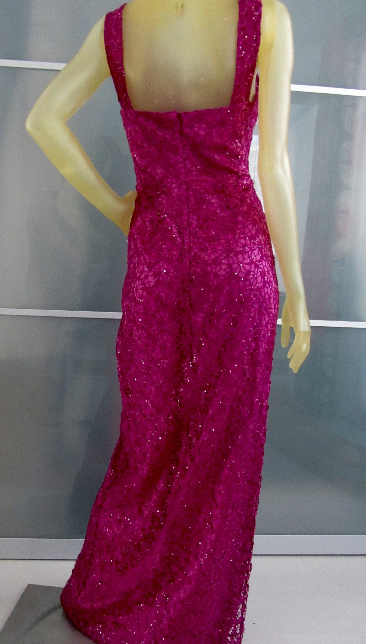 Kay Unger Rose Colored Laced Gown with Sequins Front Split Size 8 ...