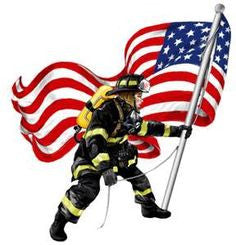 Firefighter and Flag