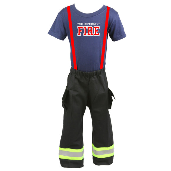 Personalized Toddler Firefighter 2-Piece Outfit with BLACK Pants