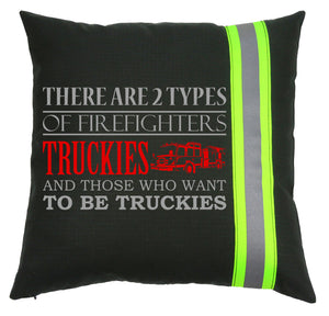 Firefighter BLACK Pillow - 2 Types of Firefighters Truckies