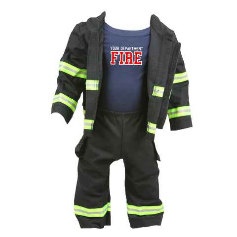 Personalized Baby Firefighter FULL BLACK Outfit 3-Piece