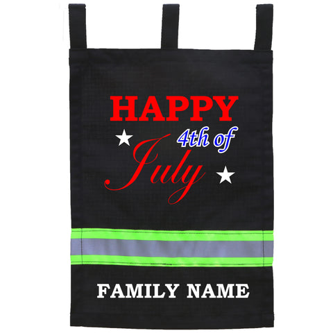 Firefighter BLACK Yard Flag - Happy 4th of July