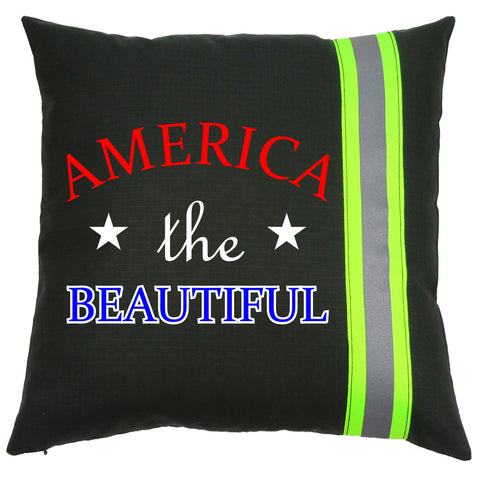 Firefighter BLACK Pillow - America the Beautiful