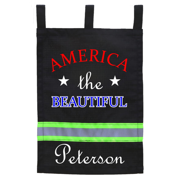 Firefighter BLACK Yard Flag - America the Beautiful