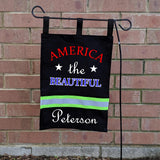Firefighter Personalized BLACK Yard Flag - America the Beautiful