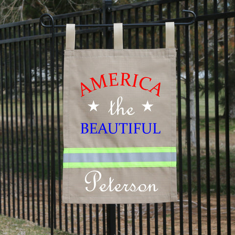 Firefighter TAN Yard Flag - America the Beautiful