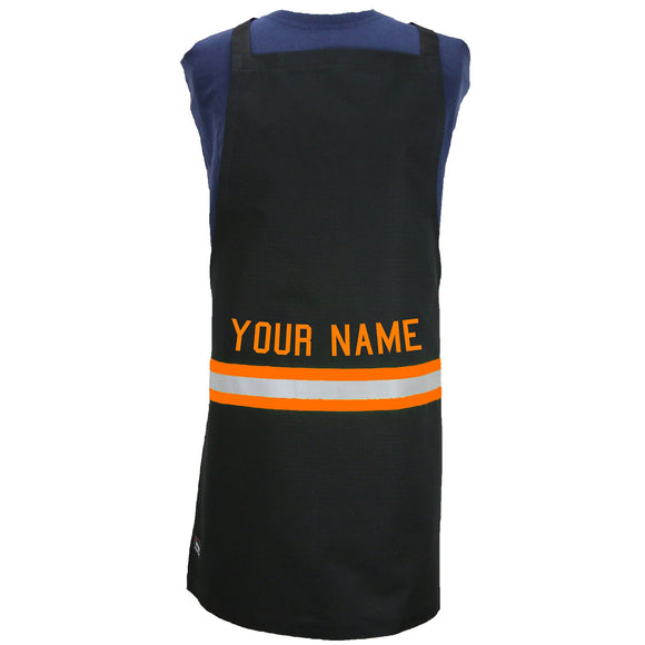 Firefighter Personalized BLACK Apron with ORANGE Reflective