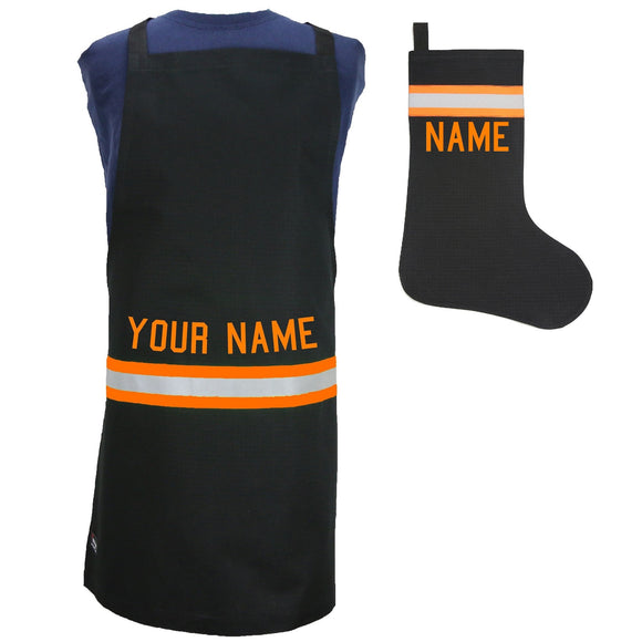 Firefighter Personalized BLACK Apron and Stocking Set with ORANGE Reflective