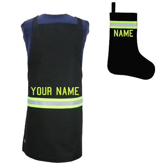 Firefighter Personalized BLACK Apron and Stocking Set