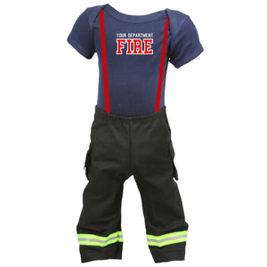 Personalized Baby Firefighter 2-Piece Outfit with BLACK Pants
