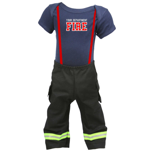 Firefighter Personalized BLACK 2-Piece Baby Outfit
