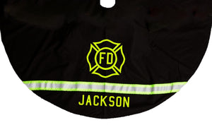 Firefighter Personalized BLACK Tree Skirt