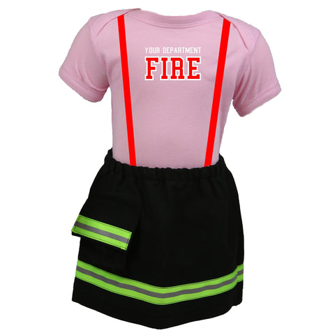 Personalized Baby GIRL Firefighter 2-Piece Outfit with BLACK Skirt