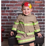 Personalized Baby GIRL Firefighter FULL 3-Piece Outfit with BLACK Skirt