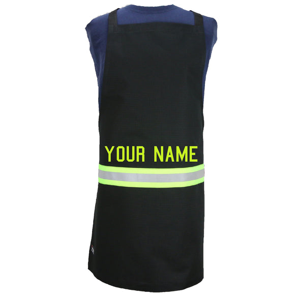 Firefighter BLACK Apron with LIME/YELLOW Reflector