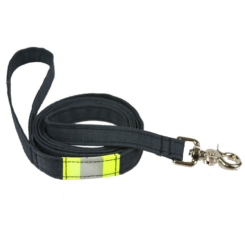 Personalized Firefighter Dog Leash made from New BLACK Turnout Bunker Gear Material