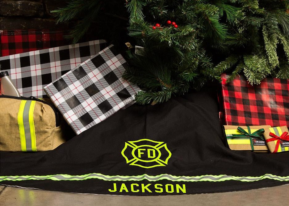 Personalized Holiday Tree Skirt Like Firefighter Turnout ...