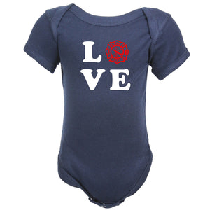 Firefighter Personalized Navy Baby LOVE Bodysuit