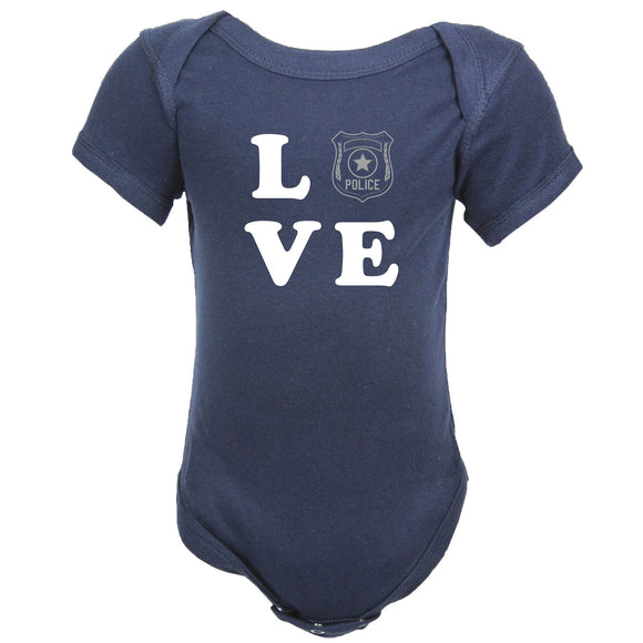 Police Personalized Navy Baby Bodysuit - LOVE with Badge