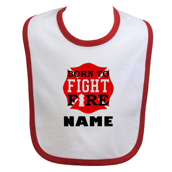 Firefighter Personalized Baby Bib Maltese Cross with Born to Fight Fire and Fire Hydrant