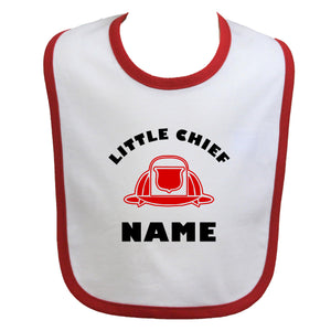 Firefighter Personalized Baby Bib Little Chief with Fire Helmet