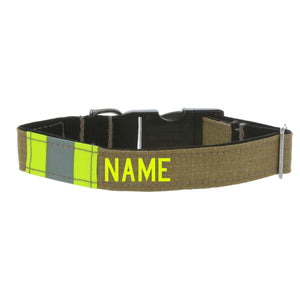 Firefighter Personalized TAN Dog Collar Made From Repurposed Turnout Material