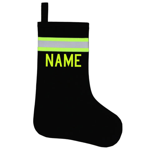 Firefighter BLACK Stocking with LIME/YELLOW Reflector