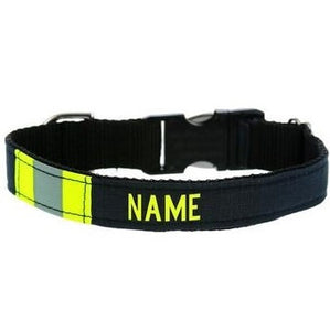 Firefighter Personalized BLACK Dog Collar Made From Repurposed Turnout Material