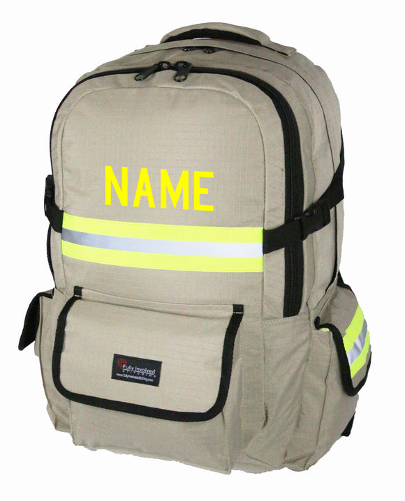 Firefighter backpack tan with personalized name made by fully involved stitching.