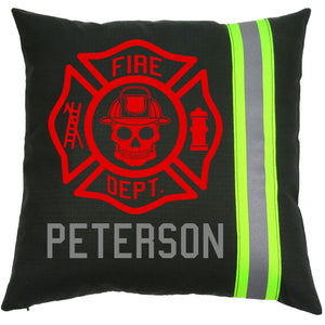 Firefighter Personalized BLACK Skull Maltese Cross Pillow