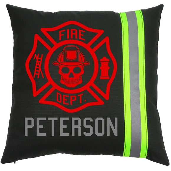 Firefighter BLACK Pillow - SKULL Maltese Cross with Name