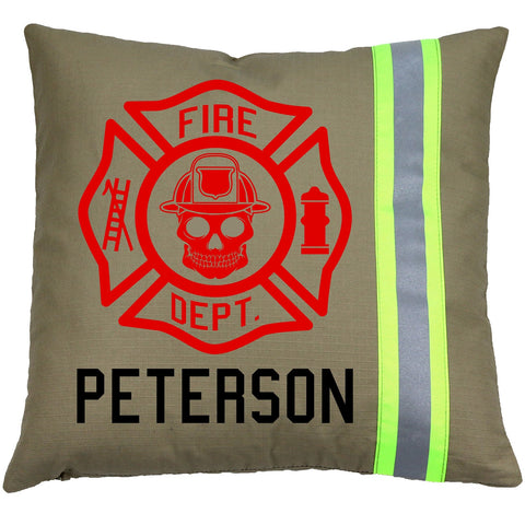 Firefighter TAN Pillow - SKULL Maltese Cross with Name