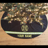 Firefighter BLACK Holiday Tree Skirt + Matching STOCKINGS