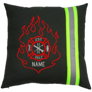 Firefighter Personalized BLACK Pillow - Flame Maltese Cross