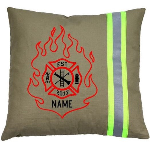 Firefighter TAN Pillow - Flame Maltese Cross with Name